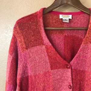 TALBOTS 2X Red Pink Plaid Cardigan Sweater